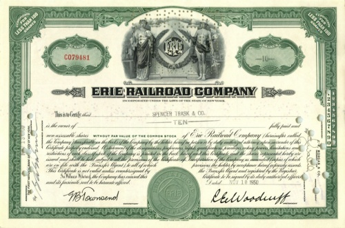 10 акций «Erie Railroad Company» 1950 года (США)