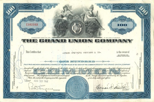 100 акций «The Grand Union Company» 1962 года (США)