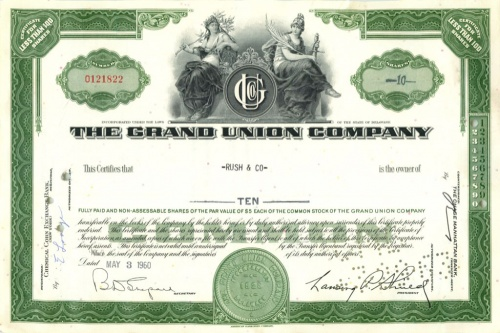 10 акций «The Grand Union Company» 1960 года (США)