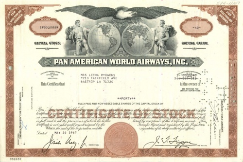 40 акций «Pan American World Airways, Inc» 1967 года (США)