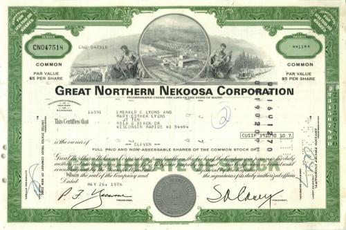11 акций «Great Northern Nekoosa Corporation» 1976 года (США)