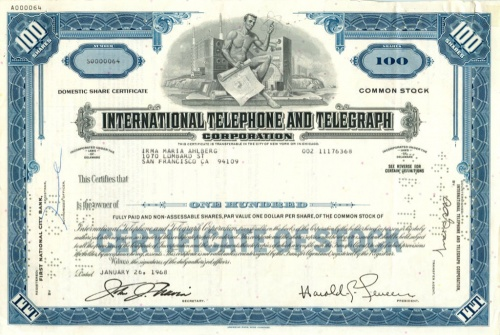 100 акций «International Telephone and Telegraph Corporation» 1968 года (США)