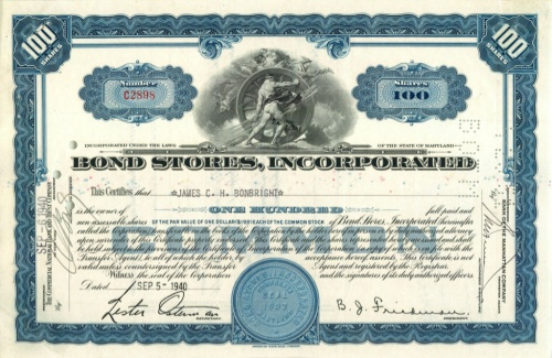 100 акций «Bond Stores, Incorporated» 1940 года (США)