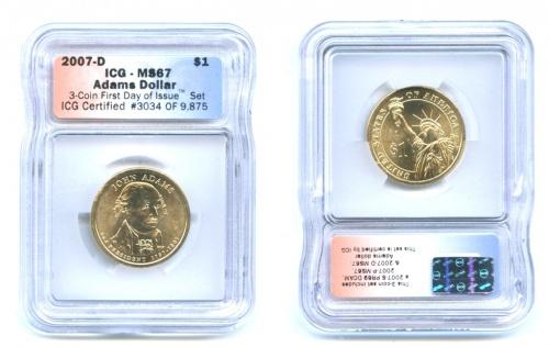 1 доллар — 2-ой Президент США - Джон Адамс (1797-1801), вфутляре 2007 года D (США)