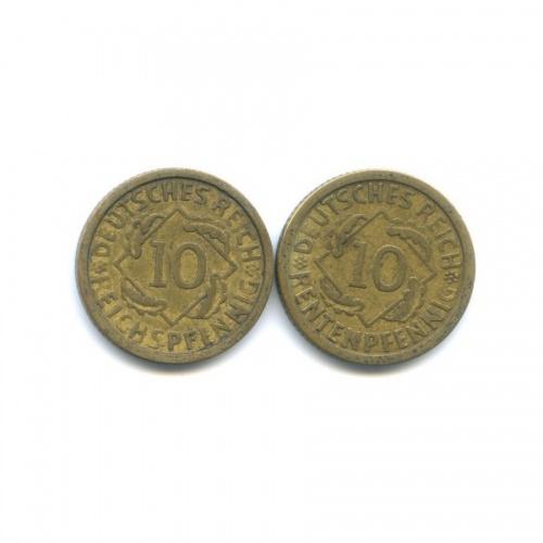 Набор монет 10 рейхспфеннигов, 10 рентенпфеннигов 1924 года (Германия)