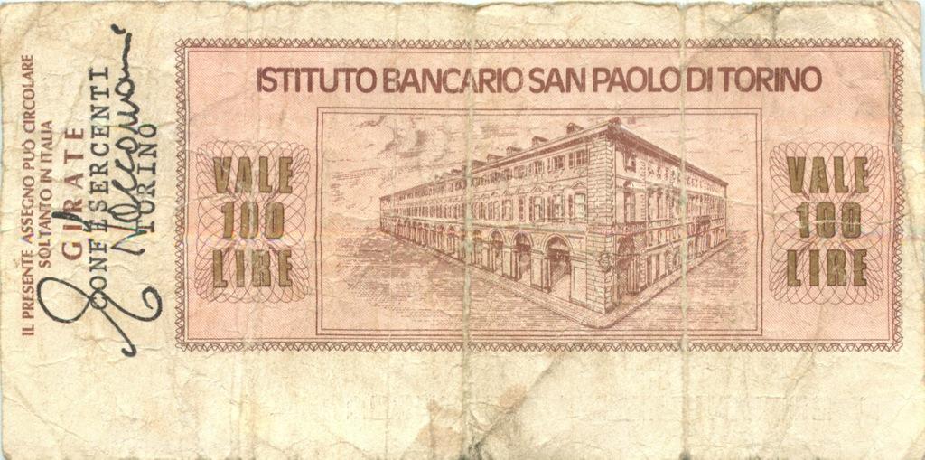 100 лир (банковский чек) 197(?) (Италия)