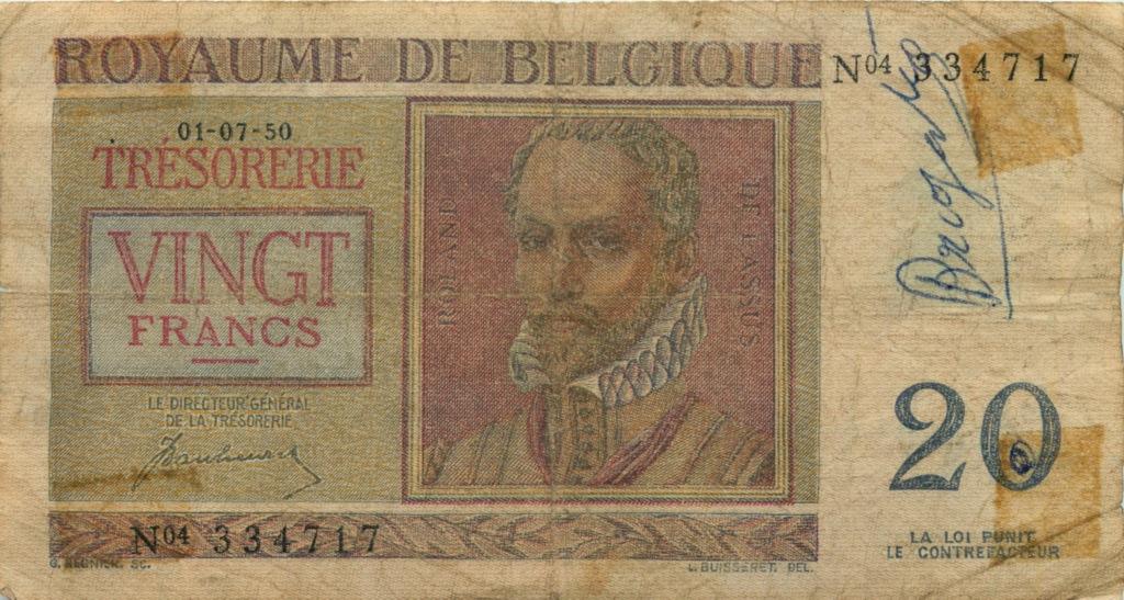 20 франков 1950 года (Бельгия)