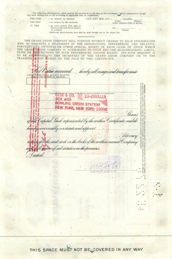 27 акций «The Grand Union Company» 1969 года (США)
