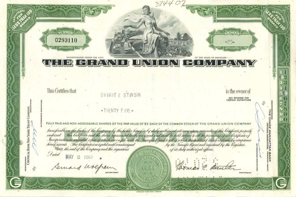 25 акций «The Grand Union Company» 1967 года (США)