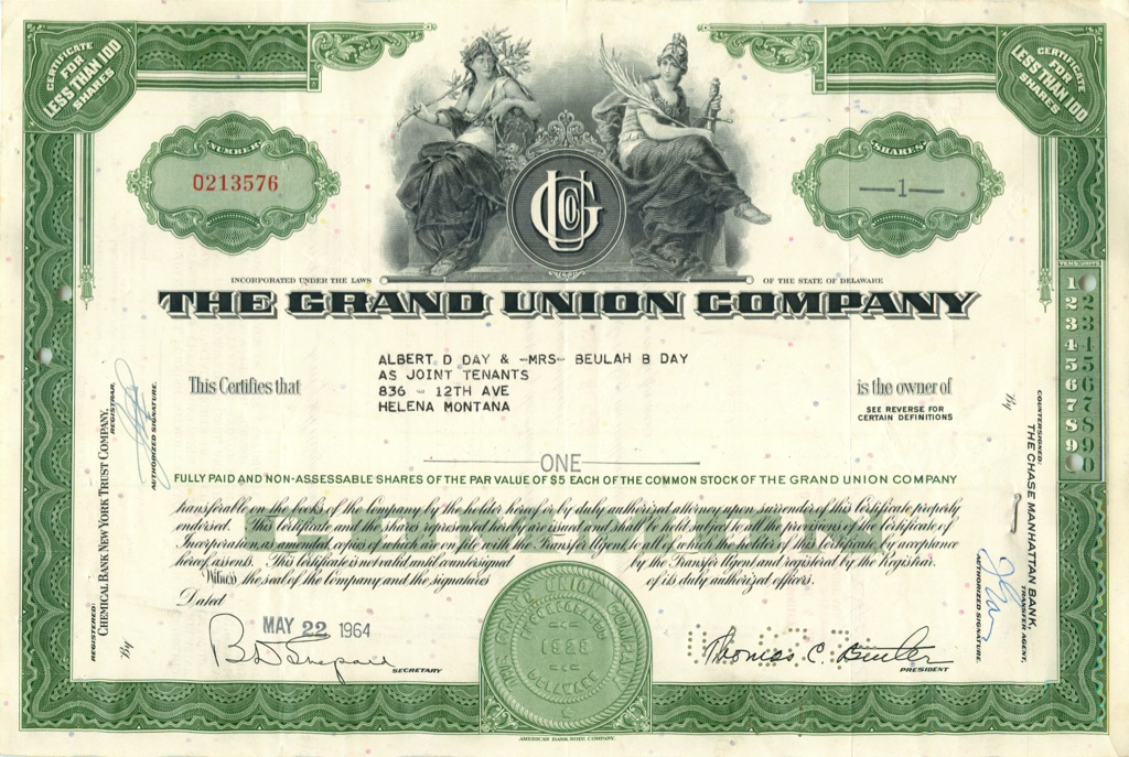 1 акция «The Grand Union Company» 1964 года (США)