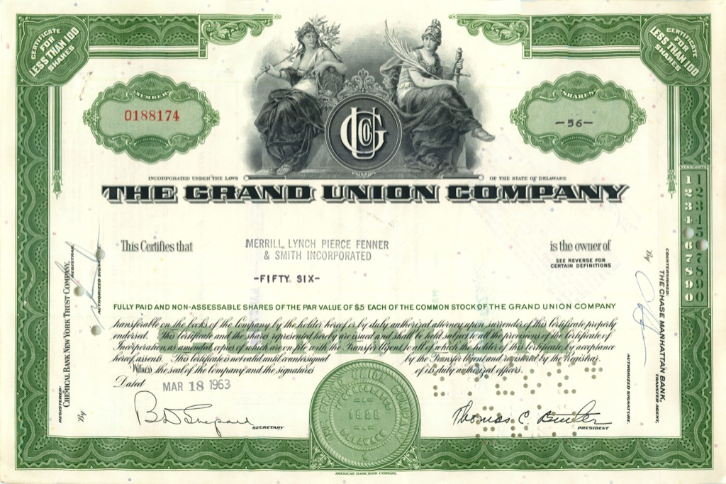 56 акций «The Grand Union Company» 1963 года (США)