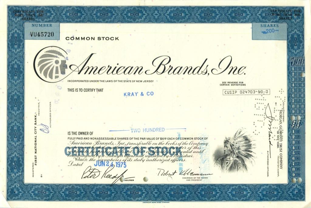 200 акций («American Brands, Inc») 1975 года (США)