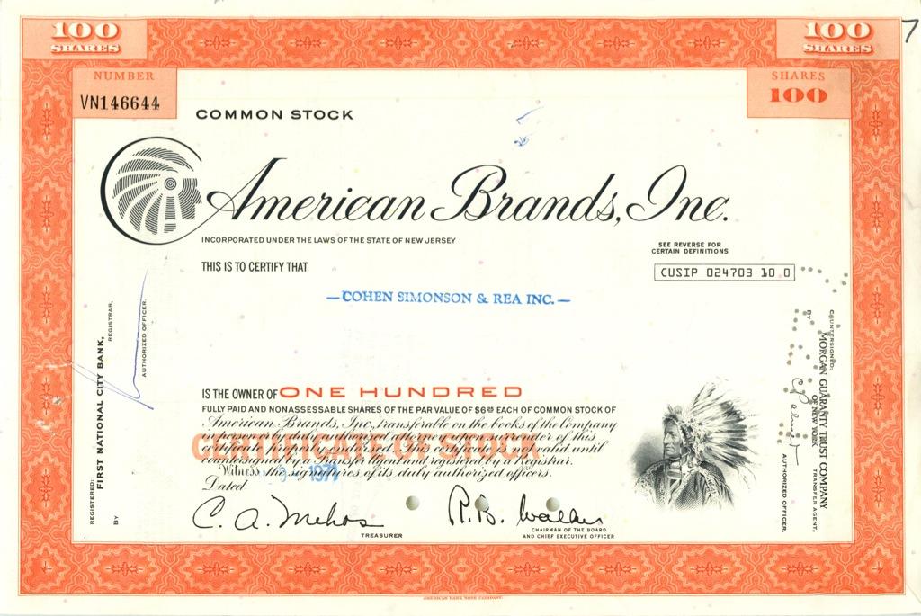 100 акций («American Brands, Inc») 1971 года (США)