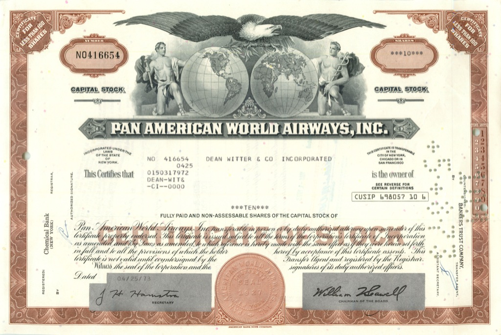 10 акций «Pan American World Airways, Inc» 1973 года (США)
