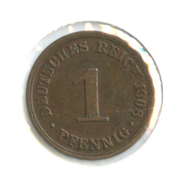 1 пфенниг (вхолдере) 1908 года A (Германия)
