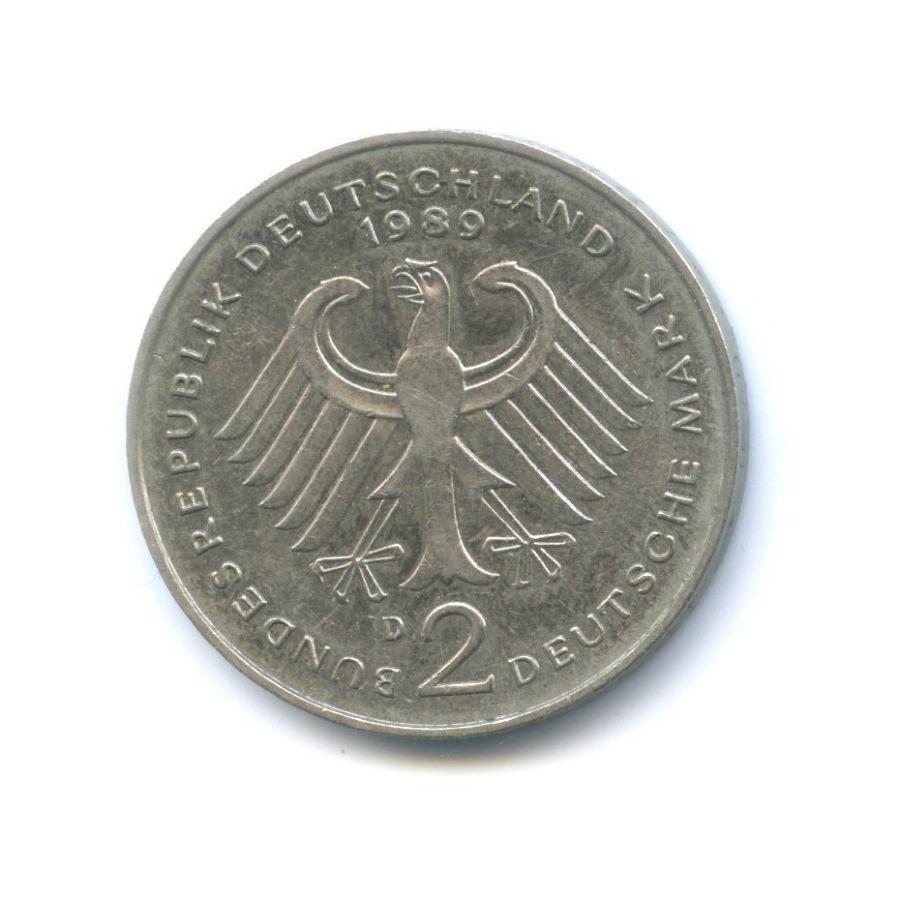 2 марки — Курт Шумахер, 30 лет Федеративной Республике (1949-1979) 1989 года D (Германия)
