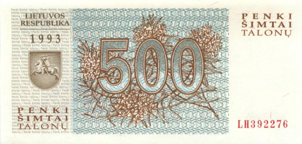 500 талонов 1993 года (Литва)