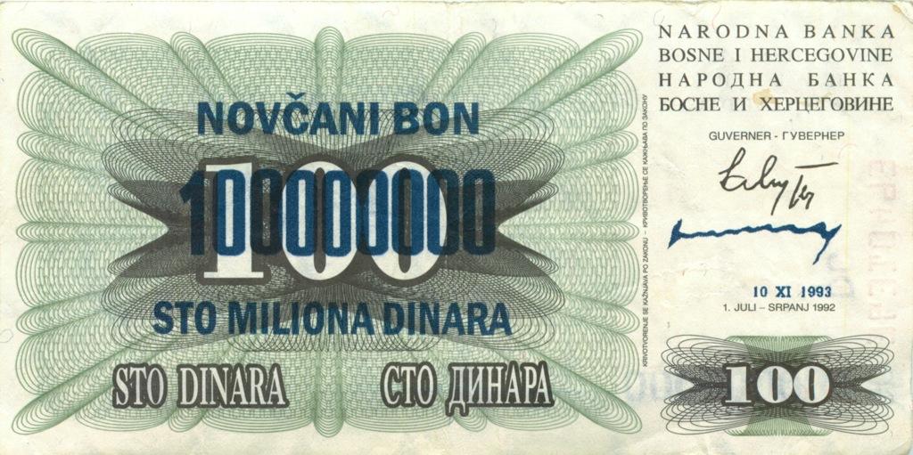100 динаров (снадпечаткой) 1992 года (Босния и Герцеговина)