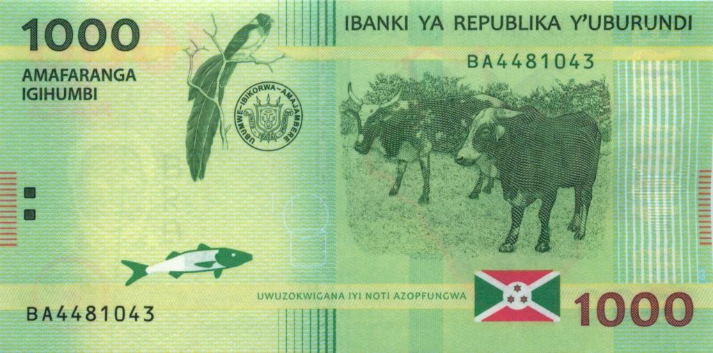 1000 франков (Бурунди) 2015 года