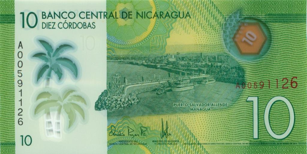 10 кордоба (Никарагуа), пластик 2014 года