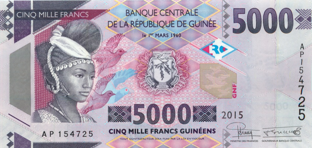 5000 франков (Гвинея) 2015 года