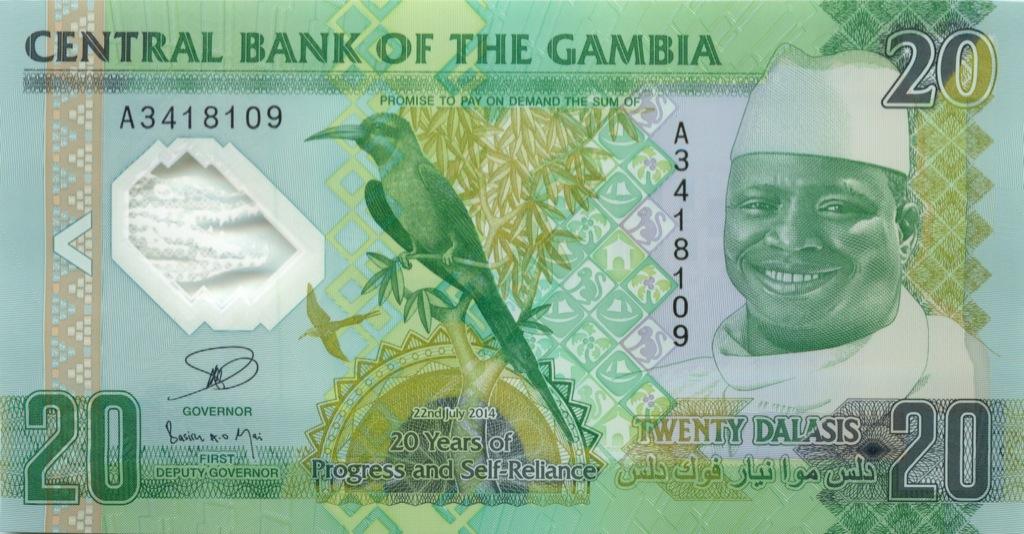 20 даласи (Гамбия), пластик 2014 года