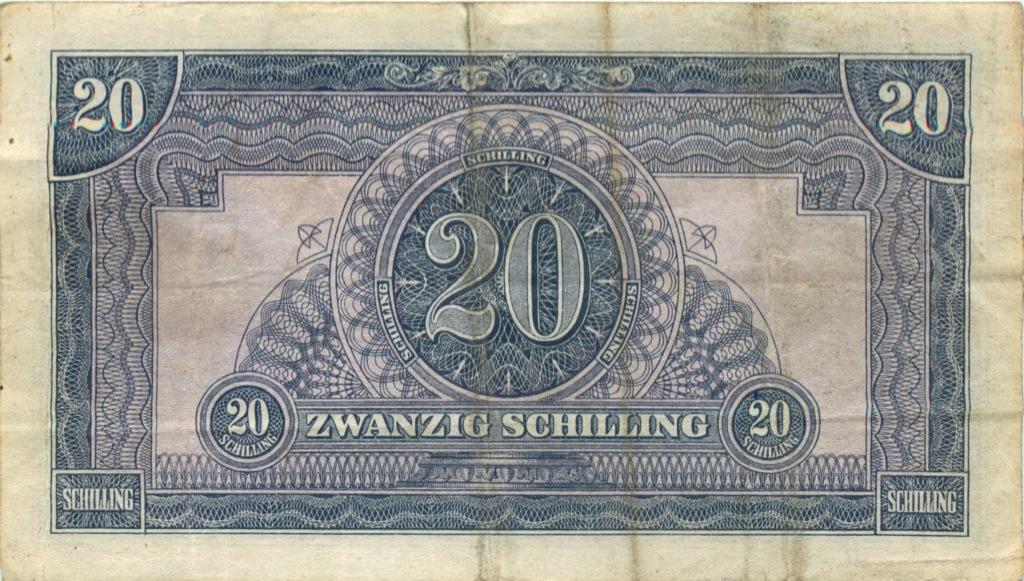 20 шиллингов (эмиссия Военных властей Союзных войск) 1944 года (Австрия)