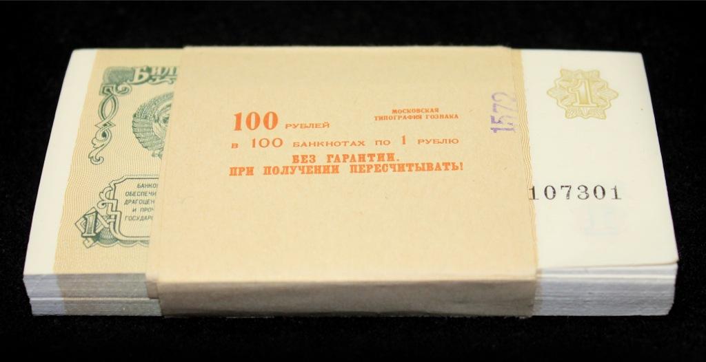 Набор банкнот 1 рубль (банковская упаковка, 100 шт.) 1991 года (СССР)