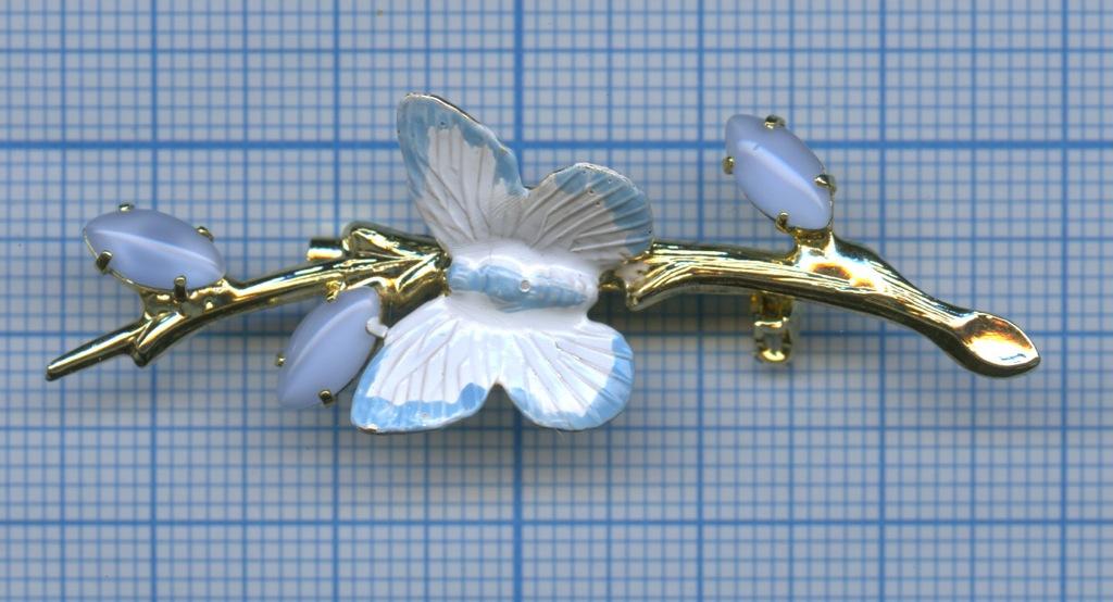 Брошка «Бабочка» (камни, эмаль, тяжелая)