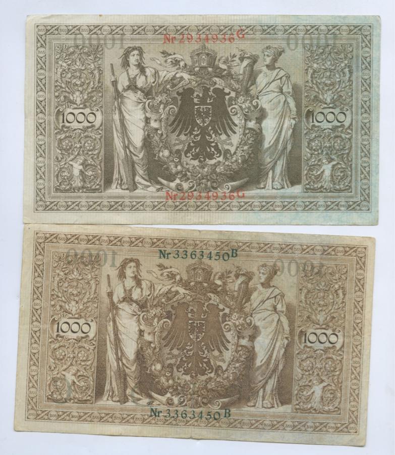 Набор банкнот 1000 марок (нечастые, разные) 1910 года (Германия)