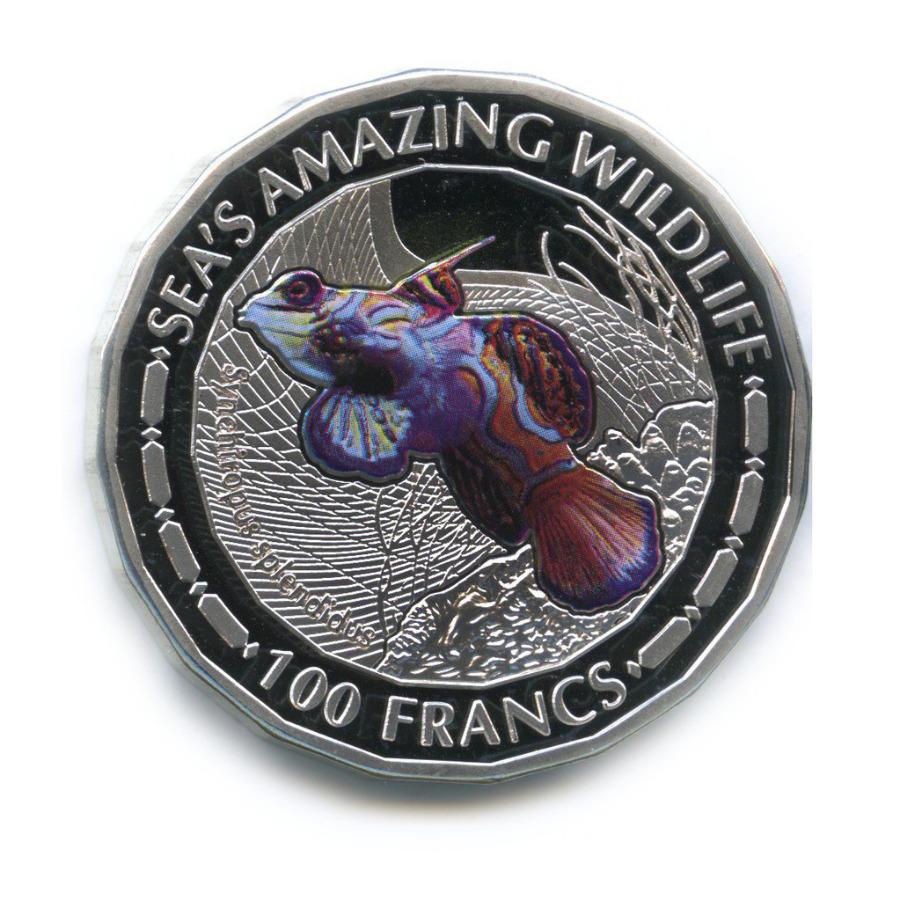 100 франков - Удивительный морской мир, Республика Бурунди (серебрение, цветная эмаль) 2015 года