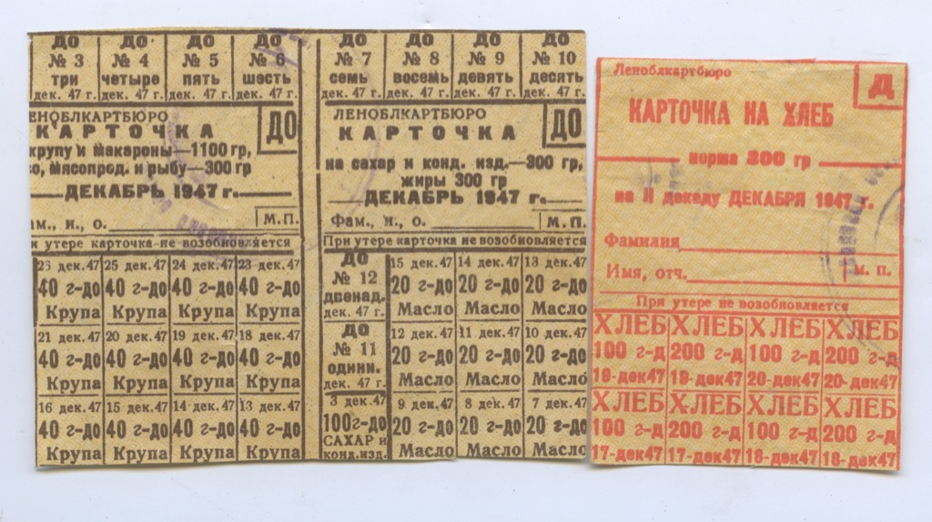 Набор продовольственных карточек 1947 года (СССР)