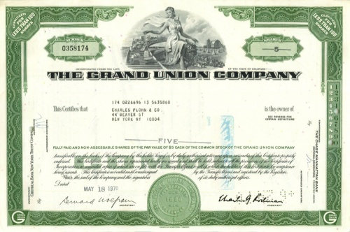 5 акций «The Grand Union Company» 1970 года (США)