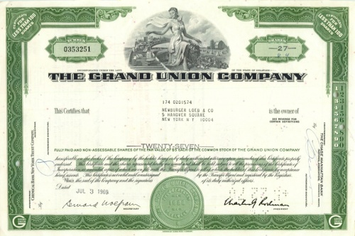 27 акций «The Grand Union Company» 1969 года (США)