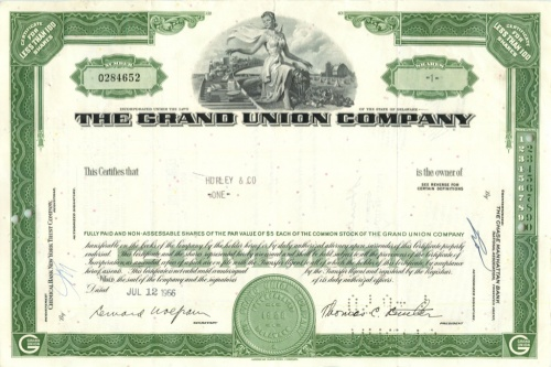 1 акция «The Grand Union Company» 1966 года (США)