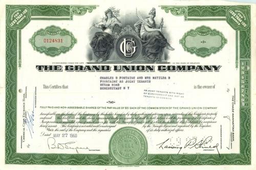 2 акции «The Grand Union Company» 1960 года (США)