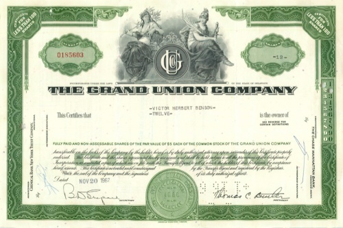 12 акций «The Grand Union Company» 1962 года (США)