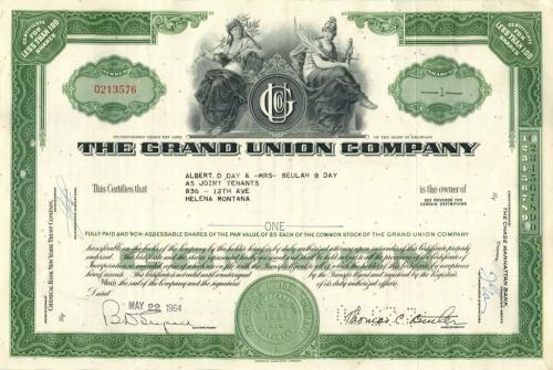 1 акция «The Grand Union Company» 1964 года (США)