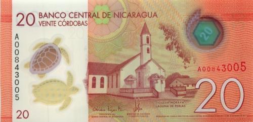 20 кордоба (Никарагуа), пластик 2014 года