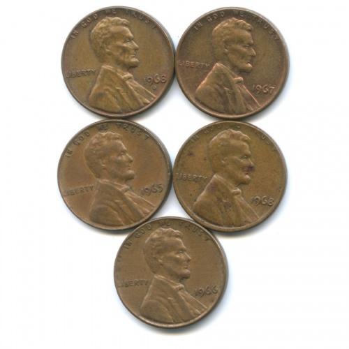 Набор монет 1 цент 1965-1968 (США)