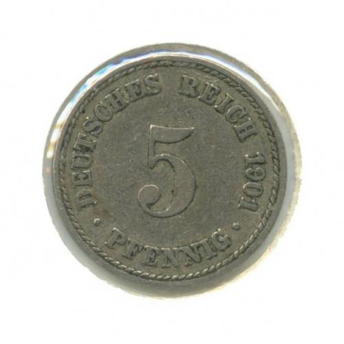 5 пфеннигов (вхолдере) 1901 года А (Германия)