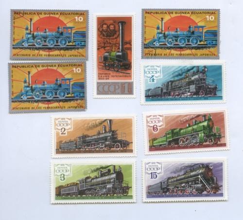 Набор почтовых марок «Паровозы» (Япония, СССР)
