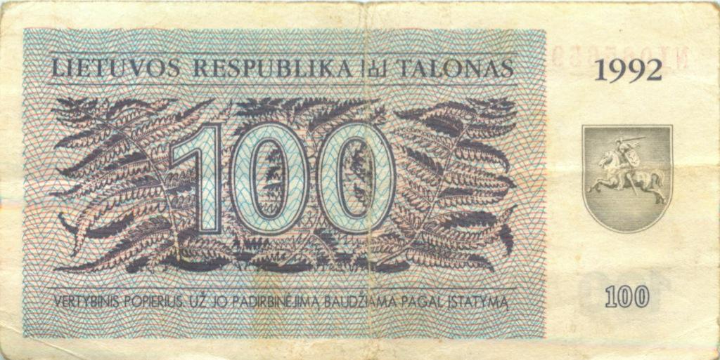 100 талонов 1992 года (Литва)