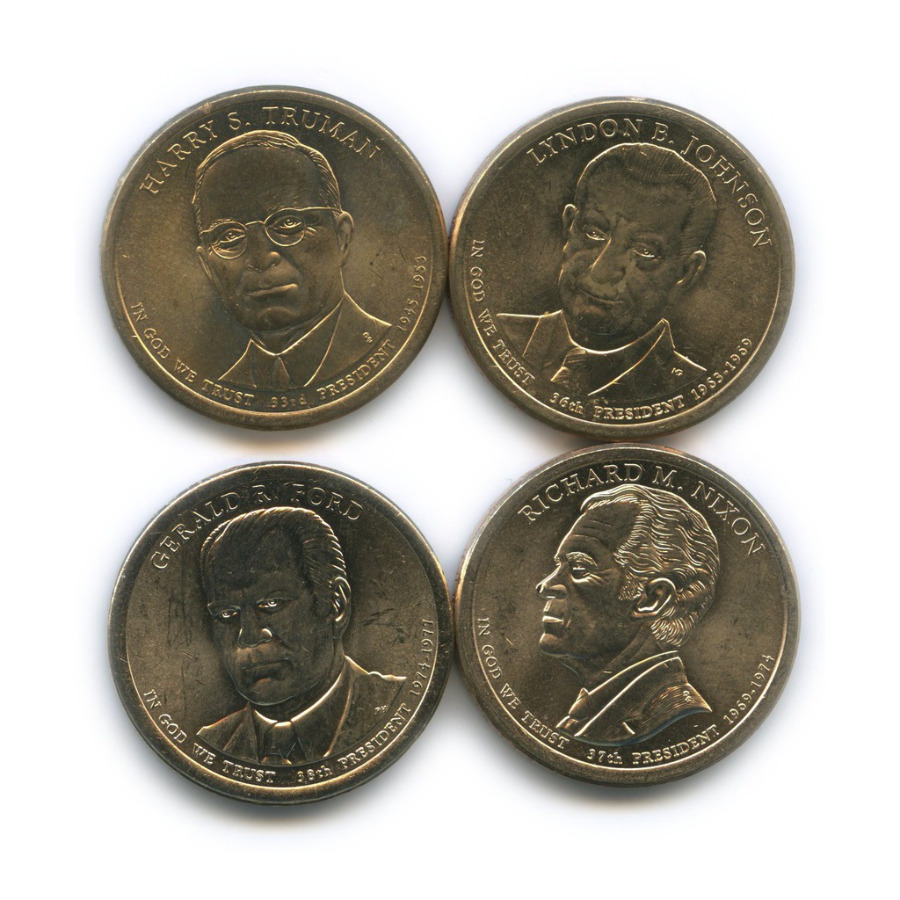 Набор монет 1 доллар - Президенты США 2015, 2016 (США)