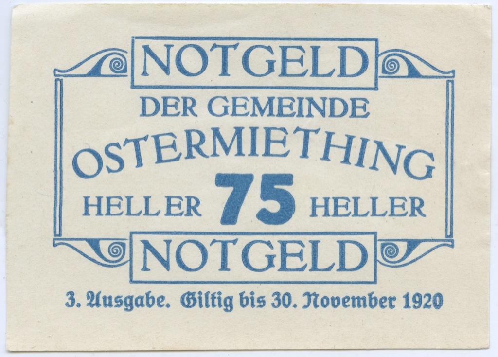 75 геллеров (нотгельд) 1920 года (Австрия)