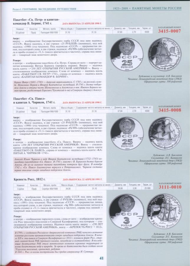 Каталог-справочник «Памятные иинвестиционные монеты России 1832-2009», издательство «ИнтерКрим-Пресс», Москва, 400 стр. (сцветными иллюстрациями) 2009 года (Россия)