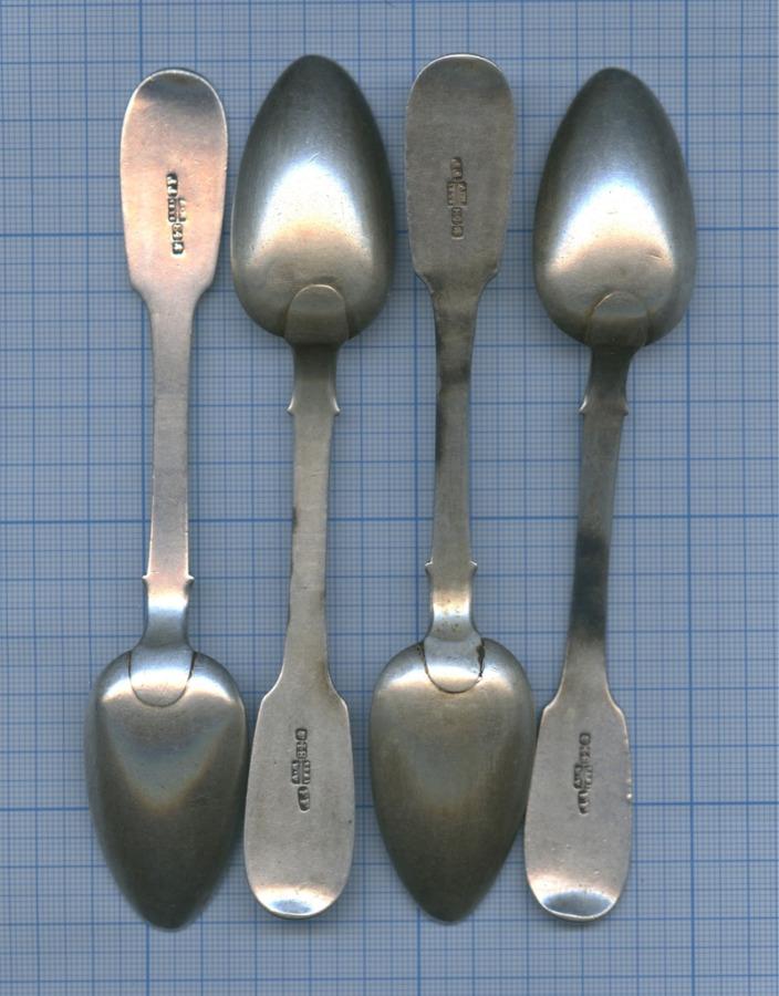 Набор чайных ложек (84 проба серебра, клеймо мастера, вес - 130 г) 1856 года (Российская Империя)