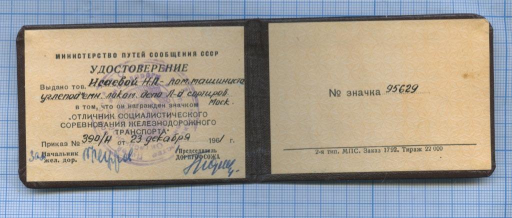 Удостоверение (Министерство путей сообщения СССР) (СССР)