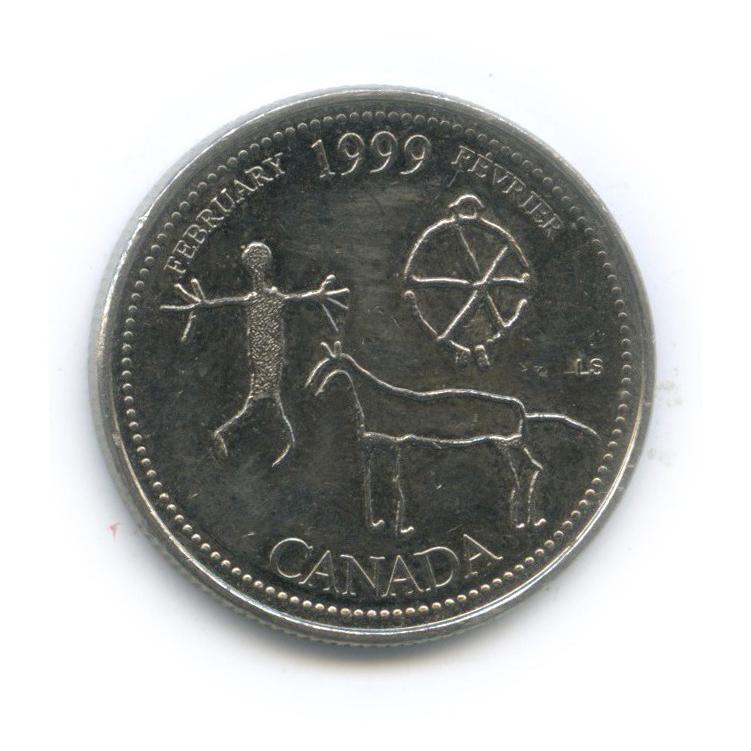 25 центов (квотер) — Миллениум - Февраль 1999, Запечатленные вкамне 1999 года (Канада)