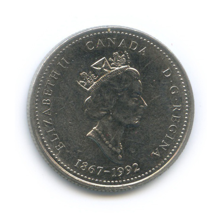 25 центов (квотер) — 125 лет Конфедерации Канада - Ньюфаундленд иЛабрадор 1992 года (Канада)